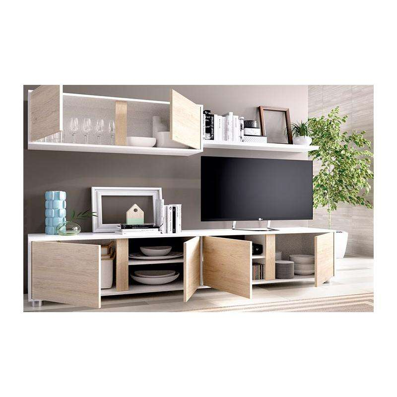 Mueble de sal n en color blanco y natural muebles boom for Muebles de salon en color blanco