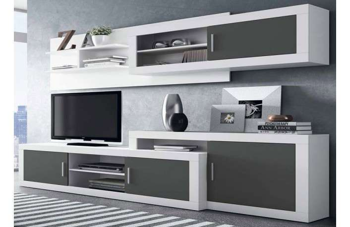 Muebles salon gris y blanco 20170808090705 for Mueble moderno salon