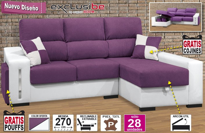 Chaise longue extraible reclinable + arcón + pouffs OFE DIA 04-14-24A