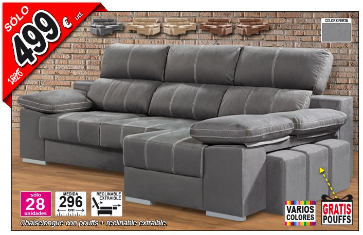 Chaise longue reclinable y extraible de 296 cm OFE DIA 04-14-24A