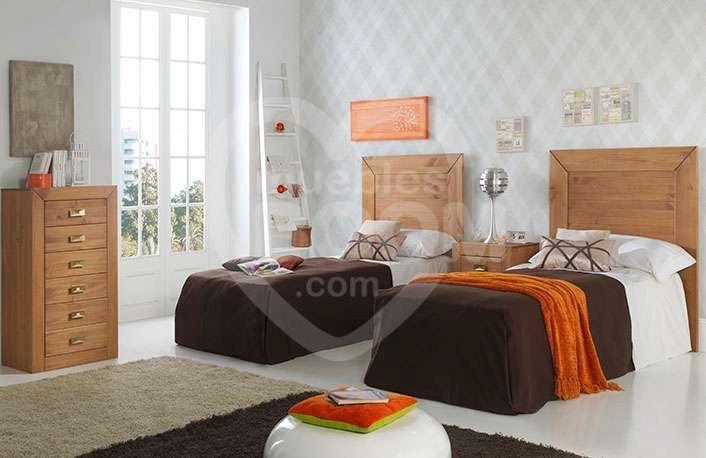 Dormitorios juveniles con madera 2 camas 059-018