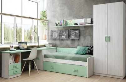 Dormitorios juveniles con armario y zona estudio 002-204