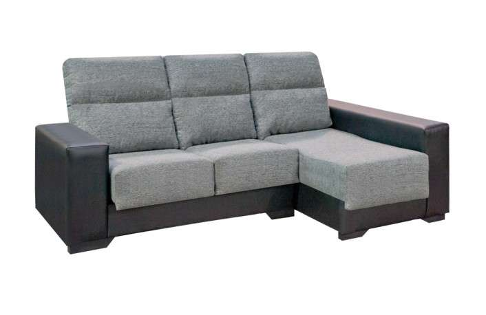Chaiselongue desenfundable con arcón y 2 pouffs