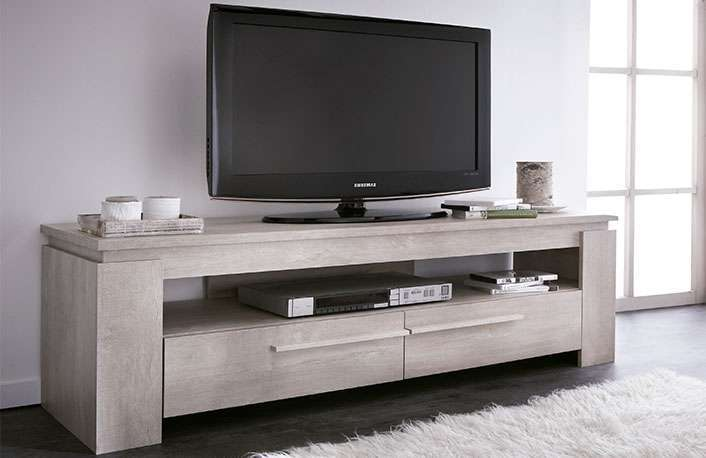 Mueble tv 2 cajones roble muebles boom for Mesa para tv con cajones