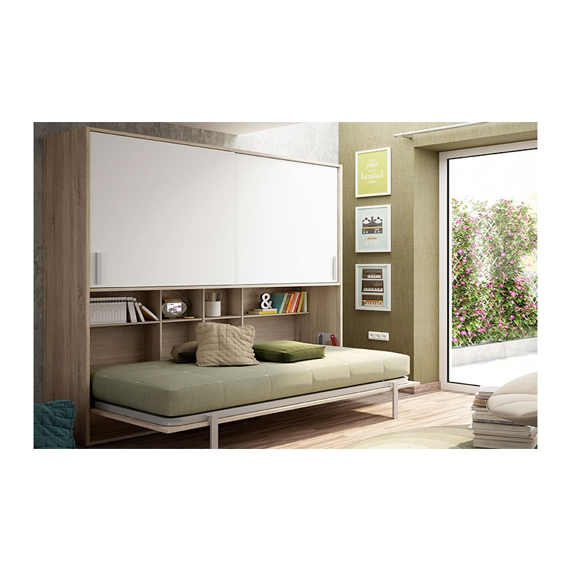 Cama abatible horizontal con estanter as y armario - Fabricar cama abatible ...