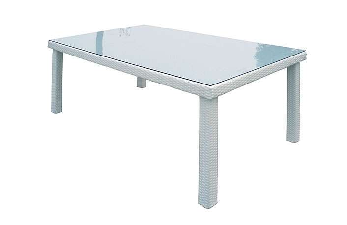 Mesa rectangular ratán blanco