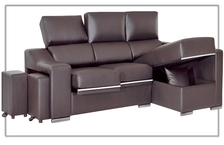 Sofá chaiselongue con asientos extraibles y reclinables