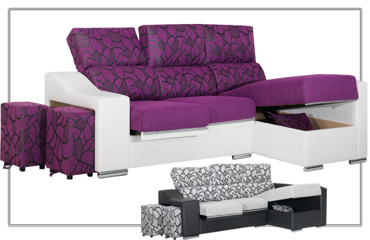 Sofá chaiselongue con arcaón y respaldo reclinable