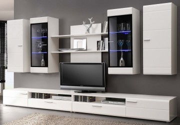 Conjunto muebles de salon en blanco y luces LED290 SAL MOD 19 0